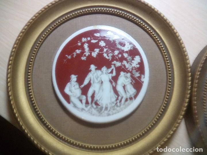 Arte: Pareja de Cromolitografias en Porcelana con marco. - Foto 3 - 115772983