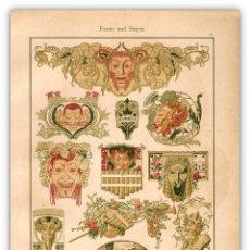 Arte: MITOLOGIA NATURALEZA SATIROS ARTES DECORATIVAS MODERNISTAS ORNAMENTOS BRUNO PANITZ ART NOUVEAU. Lote 116122463