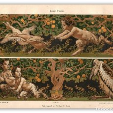 Arte: FAUNO JOVEN MITOLOGIA NATURALEZA GEORG STURM ACUARELA MODERNISTA ART NOUVEAU ARTES DECORATIVAS. Lote 116127039