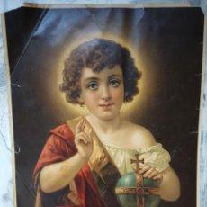 Arte: EL NIÑO JESUS, 32X43CM, CROMOLITOGRAFIA IMPRESA EN SUIZA, AÑOS 20. Lote 118208459