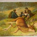 Arte: HERMOSA CROMOLITOGRAFIA - CAZA - CAZA DEL CIERVO - CAZADORES - PRINCIPIOS DE SIGLO. Lote 118501147