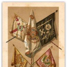 Arte: DELICADA IMPRESIÓN SIGLO XIX - GUERRA CIVIL CARLISTA - BANDERAS Y ESTANDARTES - MILITARÍA. Lote 119437263