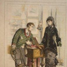 Arte: CROMOLITOGRAFÍA DE EUSEBIO PLANAS PARA LA NOVELA 'HISTORIA DE UNA MUJER' PUBLICADA EN 1880.. Lote 119530771