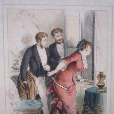 Arte: CROMOLITOGRAFÍA DE EUSEBIO PLANAS PARA LA NOVELA 'HISTORIA DE UNA MUJER' PUBLICADA EN 1880.. Lote 119530859