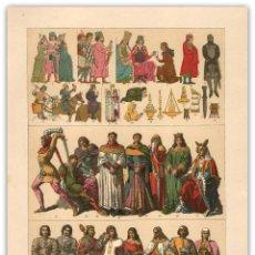 Arte: CROMOLITOGRAFÍA S XIX- MODA ESPAÑOLA EDAD MEDIA - SIGLO XIII Y XIV - . Lote 119544435