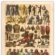 Arte: CROMOLITOGRAFIA SIGLO XIX- ARMAS - ORNAMENTOS - TRAJES - GALOS - GALOROMANOS. Lote 119549491