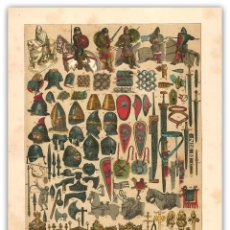 Arte: CROMOLITOGRAFIA SIGLO XIX- ARMAS - ADORNOS - CALZADO - FRANCOS - EDAD MEDIA. Lote 119551875