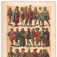 Arte: CROMOLITOGRAFIA SIGLO XIX- MODA ALEMANIA - TRAJES Y VESTIMENTAS - 2ª MITAD SIGLO XV . Lote 119552851