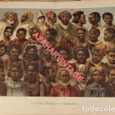 Arte: CROMOLITOGRAFIA DEL SIGLO XIX, TIPOS AFRICANOS Y AUSTRALIANOS, 30X23 CMS. Lote 124005911
