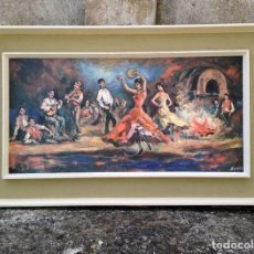Arte: 1960 - DANZA GITANA - CROMOLITOGRAFIA - DRUCK BONESS - 100 X 60 CM. Lote 125789023