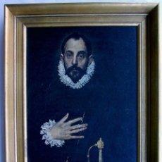 Arte: EL GRECO. EL CABALLERO DE LA MANO EN EL PECHO. IMPRESIÓN EN TABLA. ENMARCACIÓN CON PAN DE ORO.. Lote 126099971
