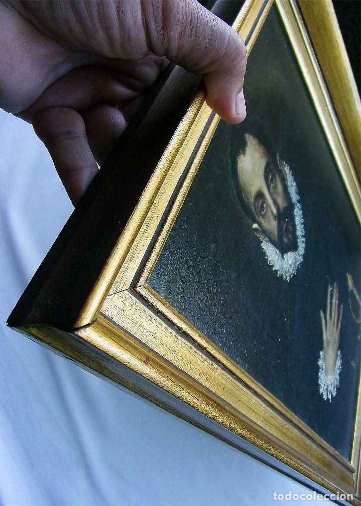 Arte: EL GRECO. EL CABALLERO DE LA MANO EN EL PECHO. IMPRESIÓN EN TABLA. ENMARCACIÓN CON PAN DE ORO. - Foto 4 - 126099971