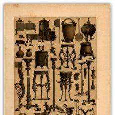Arte: CROMOLITOGRAFIA ORIGINAL SIGLO XIX- VASIJAS - LAMPARAS - CANDELABROS - ROMANOS - ETRUSCOS -. Lote 126242499