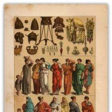 Arte: CROMOLITOGRAFIA ORIGINAL SIGLO XIX - CASCOS Y ADORNOS ETRUSCOS - MODA FEMENINA ROMANA - ANTIGUEDAD -. Lote 126244263