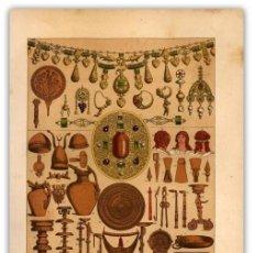 Arte: CROMOLITOGRAFIA ORIGINAL SIGLO XIX- OBJETOS ETRUSCOS ORO Y BRONCE- ANTIGUEDAD - ARTE - . Lote 126244907