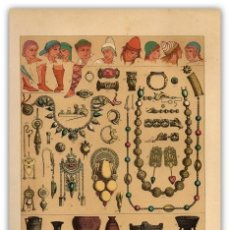 Arte: CROMOLITOGRAFIA ORIGINAL SIGLO XIX- ETRUSCOS - PEINADOS - CALZADO - JOYAS - VASIJAS - ANTIGUEDAD - . Lote 126245035