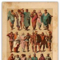Arte: CROMOLITOGRAFIA ORIGINAL SIGLO XIX - MODA MASCULINA Y FEMENINA - ETRUSCOS - ANTIGUEDAD - . Lote 126245239