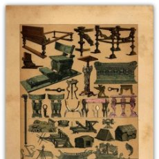 Arte: CROMOLITOGRAFIA ORIGINAL SIGLO XIX - MUEBLES - UTENSILIOS - EMBARCACIONES - ROMANOS - . Lote 126248375