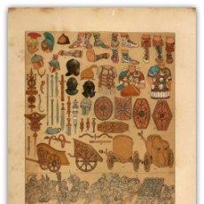 Arte: CROMOLITOGRAFIA ORIGINAL SIGLO XIX- ESTANDARTES - CARROS DE GUERRA - VESTIDURAS - MILITARIA ROMANA -. Lote 126254291