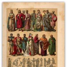 Arte: CROMOLITOGRAFIA ORIGINAL SIGLO XIX - MODA INGLESA SIGLO XIII - EDAD MEDIA - TRAJES - . Lote 126260263