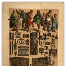 Arte: CROMOLITOGRAFIA ORIGINAL SIGLO XIX- TRAJES - ARMAS - ADORNOS - GODOS - . Lote 126268711