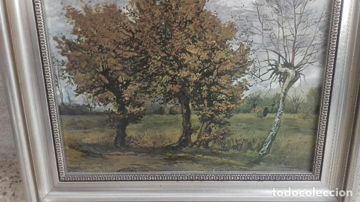 REPRODUCCION SOBRE TABLA: PAISAJE DE OTOÑO CON 4 ARBOLES. VICENT VAN GOGH 1885. 37,5X31 CMS (Arte - Cromolitografía)