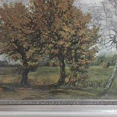 Arte: REPRODUCCION SOBRE TABLA: PAISAJE DE OTOÑO CON 4 ARBOLES. VICENT VAN GOGH 1885. 37,5X31 CMS. Lote 128391927