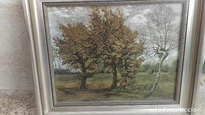 Arte: REPRODUCCION SOBRE TABLA: PAISAJE DE OTOÑO CON 4 ARBOLES. VICENT VAN GOGH 1885. 37,5X31 CMS - Foto 2 - 128391927