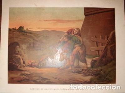 CROMOLITOGRAFIA RELIGIOSA: CASTIGO DE UN ESCLAVO QUEMANDOLE LOS PIES G-REL-277 segunda mano