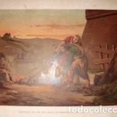 Arte: CROMOLITOGRAFIA RELIGIOSA: CASTIGO DE UN ESCLAVO QUEMANDOLE LOS PIES G-REL-277. Lote 129969091