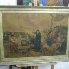 Arte: 85 CM IMPRESIONANTE CUADRO CON LITOGRAFIA C.1900 - JUANA LA LOCA DE CASTILLA - PRADILLA - GRAN MARCO. Lote 130935484