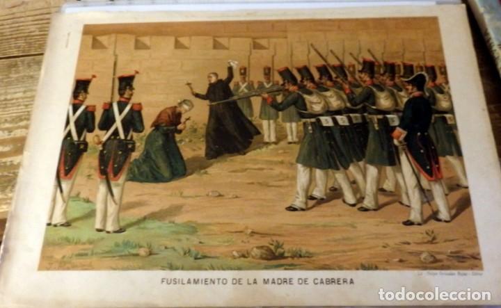 CROMOLITOGRAFÍA. FUSILAMIENTO DE LA MADRE DE CABRERA. CARLISMO. 1890. ALAMINOS. 32,5 X 23,5 CM. (Arte - Cromolitografía)