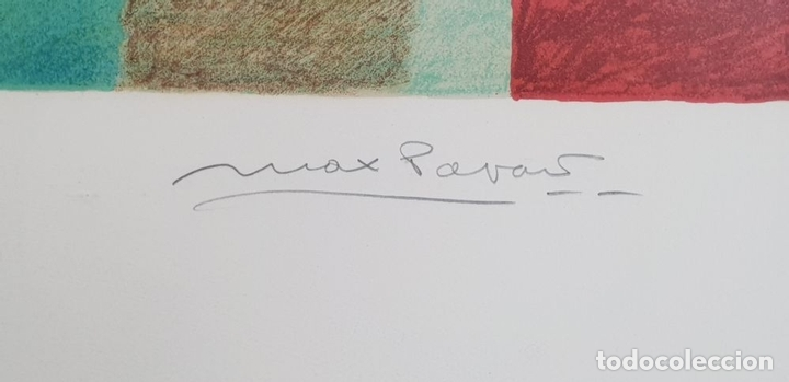 Arte: ABSTRACTO. CROMOLITOGRAFIA SOBRE PAPEL. FIRMADO MAX POVARS ?. SIGLO XX. - Foto 3 - 135415634