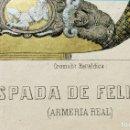 Arte: PRECIOSA CROMOLITOGRAFÍA HERÁLDICA - ESPADA DE FELIPE II - ARMERÍA REAL - VILLA Y CORTE DE MADRID. Lote 140859438