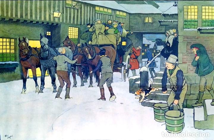 SNOWED UP ON CHRISTMAS EVE. CROMOLITOGRAFÍA A COLOR. CECIL ALDIN. INGLATERRA.XIX-XX (Arte - Cromolitografía)