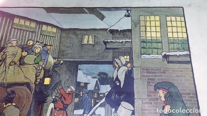 Arte: SNOWED UP ON CHRISTMAS EVE. CROMOLITOGRAFÍA A COLOR. CECIL ALDIN. INGLATERRA.XIX-XX - Foto 4 - 145508662
