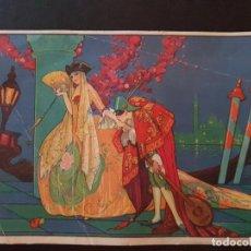 Arte: GASPAR CAMPS ILUSTRADOR ESCENA CARNAVAL VENECIA CROMOLITOGRAFIA ART DECÓ AÑOS 20 17,5 X 12 CMTS. Lote 147577390
