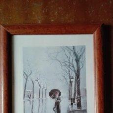 Arte: MUJER CON PARAGUAS DE PASEO FIRMADO PALMERO CROMOLITOGRAFIA. Lote 149584886