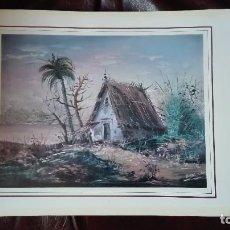 Arte: CASA RÚSTICA CON PALMERA CROMOLITOGRAFIA FIRMADA. Lote 152282314