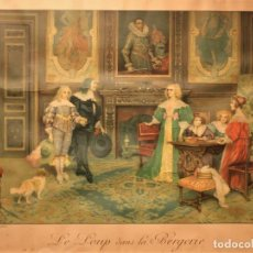 Arte: ANTIGUA LITOGRAFIA TITULADA: LE LOUP DANS LA BERGERIE. Lote 155658510