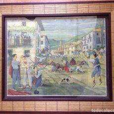 Arte: JOSÉ ARRUE ,LAMINA ANTIGUA REPRESENTANDO ENCIERRO. Lote 158740630