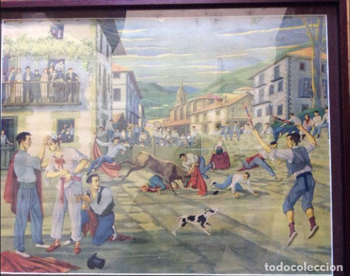Arte: JOSÉ ARRUE ,LAMINA ANTIGUA REPRESENTANDO ENCIERRO - Foto 2 - 158740630