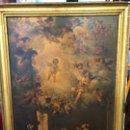Arte: CROMOLITOGRAFIA DE SAN ANTONIO SOBRE LIENZO FINAL SIGLO XIX CON MARCO DE MADERA ORO FINO - RELIGIOSO. Lote 159547406