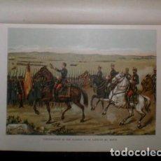 Arte: J. ALAMINOS: PRESENTACION DE DON ALFONSO XII AL EJERCITO DEL NORTE. 1893. CROMOLITOGRAFIA - CARLISMO. Lote 162071914