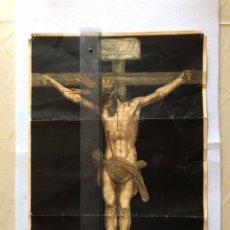 Arte: SEMANA SANTA SEVILLA. SENSACIONAL LITOGRAFÍA / CROMOLITOGRAFÍA CRISTO DEL CALVARIO.. Lote 166430273