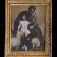 Arte: CROMOLITOGRAFÍA, SAN JOSÉ, NIÑO JESUS, SAN JUANITO BESANDO EL PIE,MUY ESCASA, MARCO PRECIOSO!!!. Lote 167686780