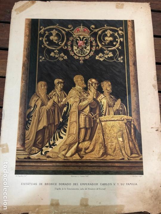 CROMOLITOGRAFIA ESTATUAS BRONCE DORADO DEL EMPERADOR CARLOS V. Y SU FAMILIA - MEDIDA 35X25 CM (Arte - Cromolitografía)