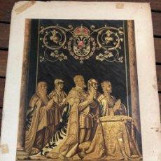 Art: CROMOLITOGRAFIA ESTATUAS BRONCE DORADO DEL EMPERADOR CARLOS V. Y SU FAMILIA - MEDIDA 35X25 CM. Lote 168745396