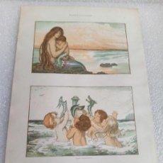 Arte: CROMOLITOGRAFIA LAMINA SIRENA MODERNISTA JULIUS HOFFMANN DEKORATIVE VORBILDER 1904. Lote 169175172