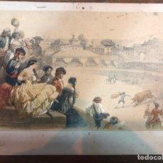 Arte: ANTIGUA CROMOLITOGRAFIA TAURINA - TORO - TAUROMAQUIA - MEDIDA 25X19 CM. Lote 169437492
